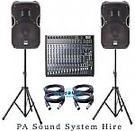 Full 1000 watt PA Sound System for Hire:  System 1 (Daily rate £135)