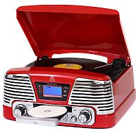 GPO Memphis Vinyl Turntable, MP3 Player, FM Radio & CD Player