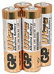 GP Ultra Alkaline Batteries AA, 1.5V Packed 4 /blister