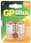 GP Ultra Alkaline Batteries C, 1.5V Packed 2 /blister