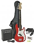 Chord CAB41PK Electric Bass Guitar + Amp Pack (Red finish)